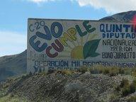 Un panneau en faveur d'Evo